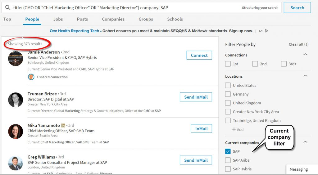 LinkedIn search filters help to refine search