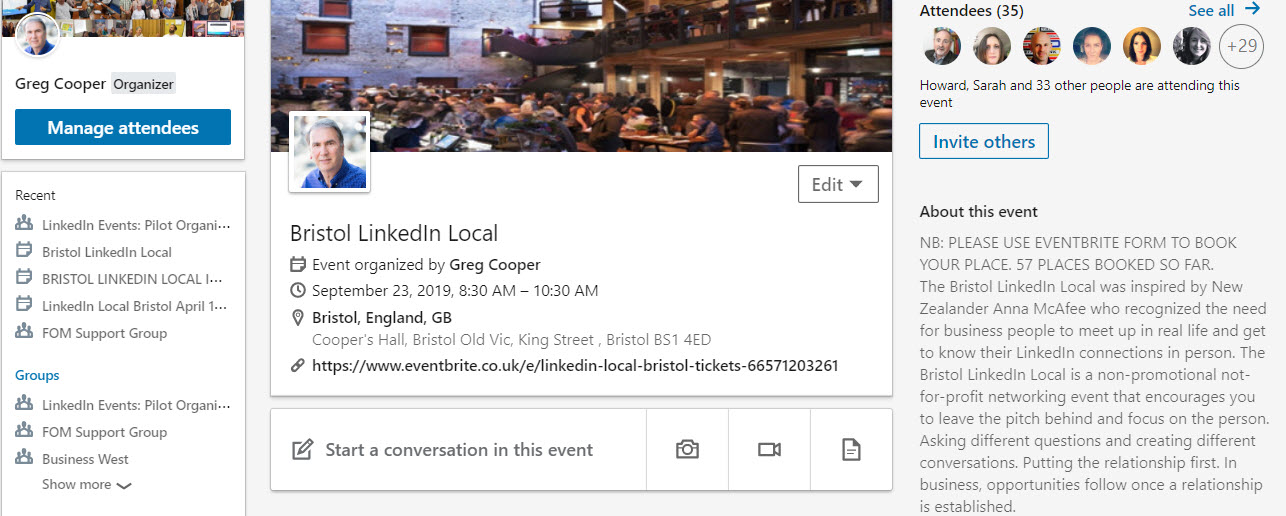 LinkedIn events feature
